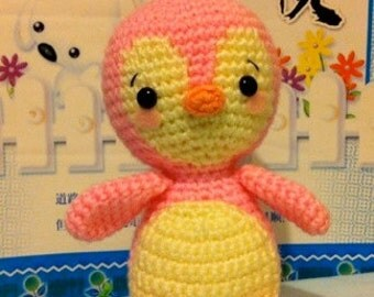 Kawaii Amigurumi Creamy Pink Softie Penguin Baby
