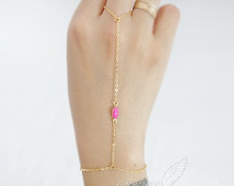 Simple Chic Minimal Enamel Color, Hot Pink Turquoise Orange Yellow, Gypsy, Gladiators Hand Chain Finger Bracelet Slave Bracelet