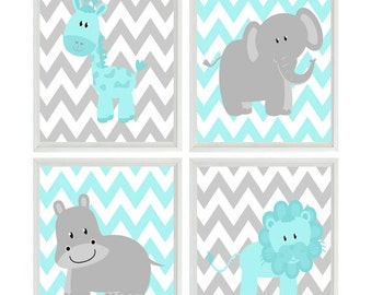 Aqua Gray Nursery Chevron Elephant Giraffe Hippo Lion Safari Wall Art Print Set Children