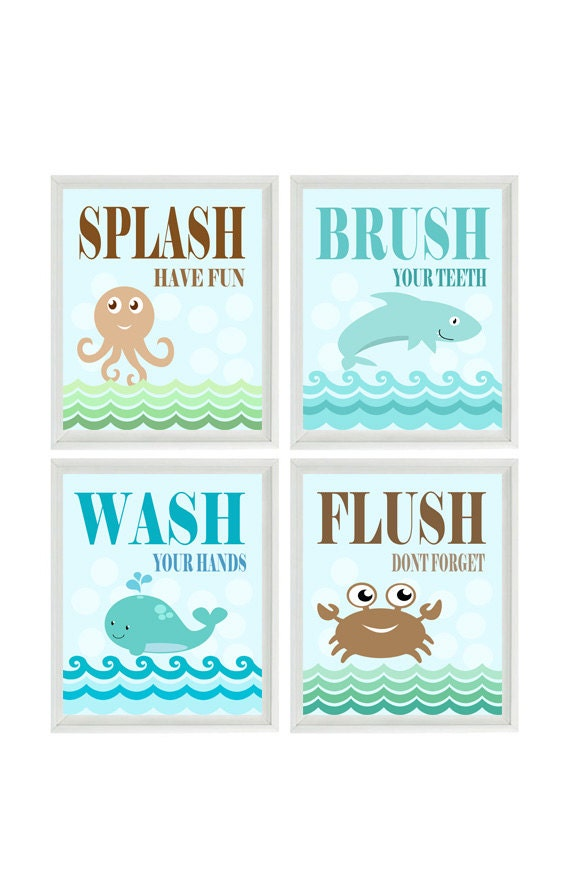 Bathroom Wall Art Nautical Beach Sea Creature Art Print Set Whale
