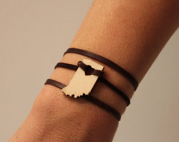 Indiana States of Love Leather Wrap Bracelet IN state jewelry