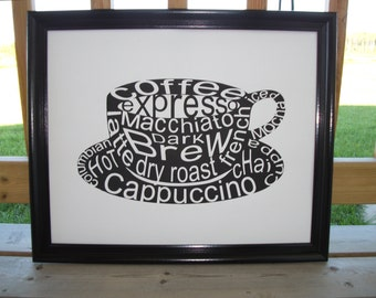 Coffee Cup made with typography tex t art like cappuccino and expresso ...