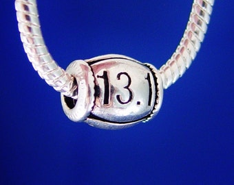 Jog Run Racing Race 13.1 K European Charm Bead Silver Plated Jewelry designed to fit your Bracelet or style