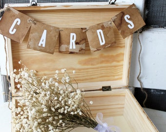 Rustic Card Box Sign Distressed Signage For Wedding Graduation Card Box