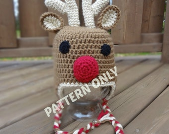 Reindeer Crochet Hat PATTERN, PDF, 7 Sizes, Instant Download