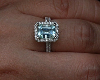 Emerald Cut Aquamarine Ring Bridal Ring Set in 14k White Gold With Aquamarine Emerald Cut 9x7mm and Diamonds