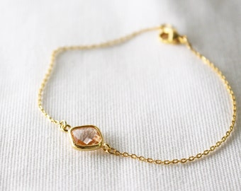 Gold framed dainty bracelet // peach