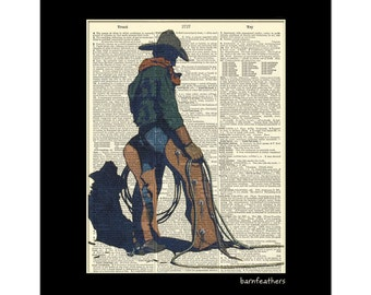 Vintage Cowboy Lariat Rope Illustration Dictionary Art Print Western Decor Print No. P260