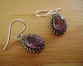 vintage amethyst sterling earrings