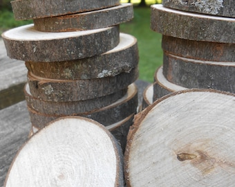 32 Rustic Wood Rounds. 1.75 to 2.75 Inches. Weddings, Showers, Birthdays, Decoration. Small Slices. CUSTOM ORDERS WELCOME.
