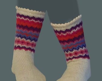 Handknitted white socks for women  with red,pink and blue  zig zag motif