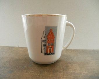 Soviet vintage porcelain mug White red mug Retro Kitchen decor RPR Old Riga souvenir Soviet Latvia collectibles 1970s