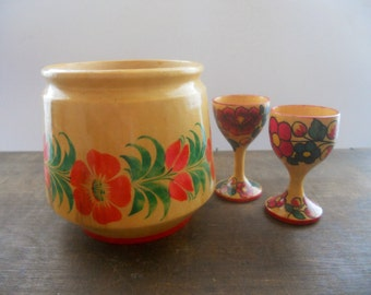 Vintage RUSSIAN KHOKHLOMA Hand Painted Wooden vessel container tumbler set Russian folk art Soviet home decor Handpainted laquer wood bowl