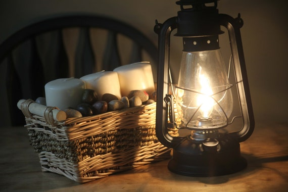 Electric Lantern Table Lamp, FLAT BLACK LANTERN, Electric Hurricane Lantern,  Night Light, Rustic Lantern Light, Table Lamp,