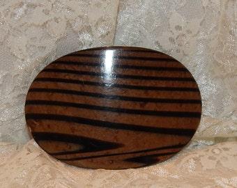 Vintage Oval Brown and Black plastic Belt Buckle Strips like Wood Grain