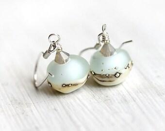 Glass Earrings/ Water Blue, Silver/ Beach earrings/ Beachy Jewelry/ Sterling silver/ Lampwork earrings by MayaHoney