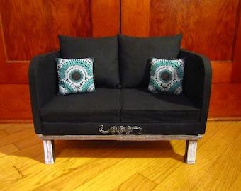 "Black Tweed 18"" Doll Sofa *Made to Order*"