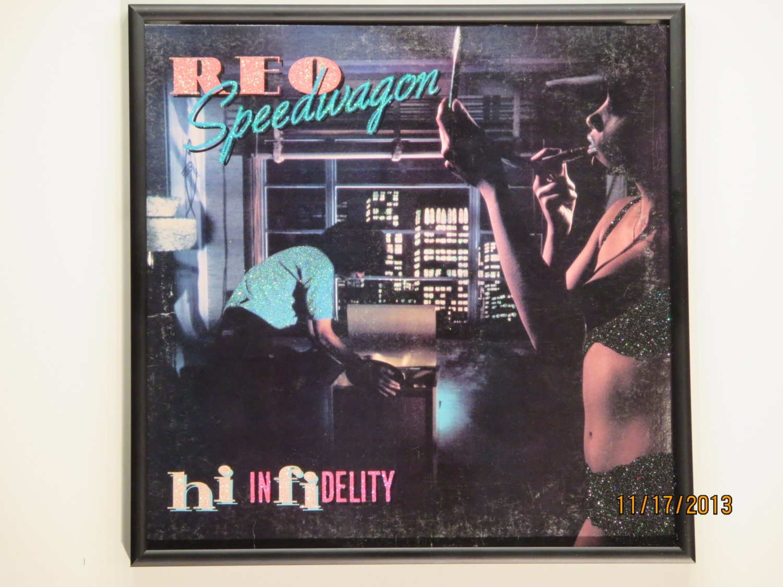 glittered record album reo speedwagon hi infidelity. Black Bedroom Furniture Sets. Home Design Ideas