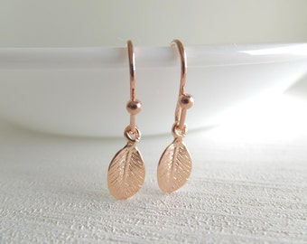Rose Gold Mini Leaf Jewelry Earrings, Dangle Earrings, Tiny Leaves, Gift for Her, Under 15, Christmas Gift