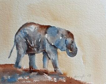 Watercolor painting of baby elephant painting art Print elephant art PRINT elephant PRINT Wall art elephant nursery art artwork 8x10