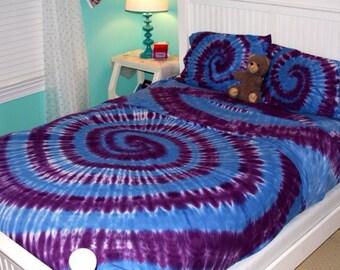 Tye dye twin sheet set, tye dye full sheet set, tye dye queen sheet set, tie dye sheets, purple and blue tye dye sheets