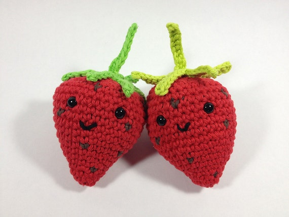 Items similar to Cute Crochet Strawberry Amigurumi Fruit ...