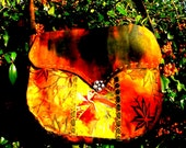 Fall Autumn Leaves Hippie Boho Festival bag handbag unique Ooak patchwork  handmade shoulder bag