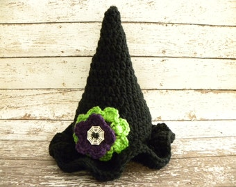 Crochet witch hat. Halloween witch hat. Newborn baby girl witch hat with flower.