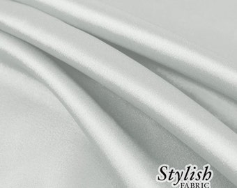 """60"""" Silver Charmeuse Satin Fabric by the Yard, Charmeuse Fabrics, Charmeuse Satin, Bridal Wedding Satin Fabric- 1 Yard Style 2800"""