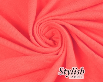 Coral Cotton Lycra Jersey Knit Fabric Combed 7oz by the Yard Cotton Stretch Jersey Cotton Jersey Stretch by the yard - 1 Yard Style 477
