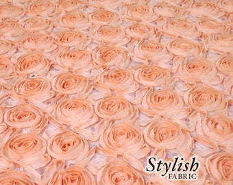 Special Peach Floral Chiffon Rosette Fabric with Sequins, 3D Rosette Fabric, Floral Backdrop Newborn Fabric by the yard-1 Yard Style 1602
