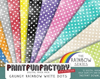 Rainbow grungy polka dots - 12 digital papers (#020) INSTANT DOWNLOAD