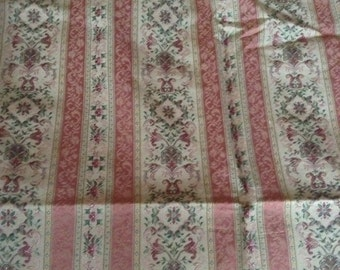 French Country Shabby Chic Rose Lisere stripe fabric
