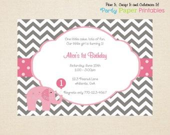 Pink Elephant Birthday Invitation, Elephant Invitation, Pink & Grey Chevron Invitation - PRINTABLE, DIY by Party Paper Printables