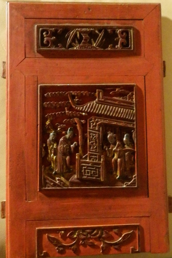 Vintage Wood Paneling: Antique Hand Carved Qing Dynasty (?) Wood Panel Wall