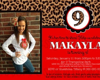 Leopard Red Birthday Invitation - Printable