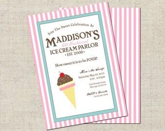 Ice Cream Parlor Birthday Invitation, Printable Invitation, Personalized Ice Cream Invitation