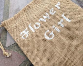 Flower Girl Burlap Bag - Wedding - Rustic
