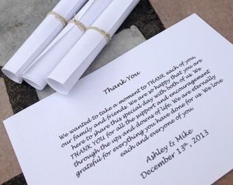 White THANK YOU Scrolls - Wedding - Favor - Set of 100