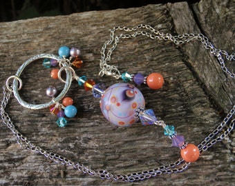 Misty Purple Moogin Necklace with Handmade Lampwork, Swarovski Crystals and Pearls, and Pewter Scroll ring