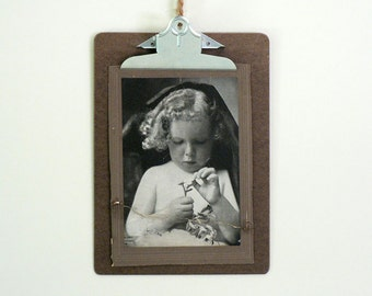 Vintage Dark Brown Clip Board