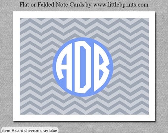 Gray Blue Chevron Monogram Note Cards Set of 10 personalized flat or folded cards