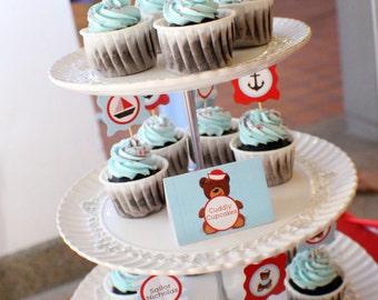 Customized Party Cupcake Toppers (Sailor Bear Theme) x 24 pcs