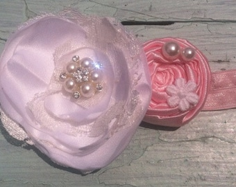 Light Pink, Baby Pink, White, Satin & Lace Fabric Flower Headband, Brooch, Pink Satin Rosette, White Satin Cabbage Rose, Shabby Chic