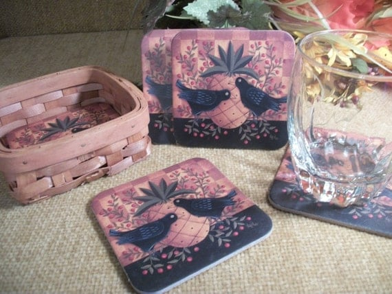 Cork Backed Coasters Home Bar Entertaining Tableware Six Beverage Trivets Wicker Basket Black Bird Pineapple Design Vintage Barware