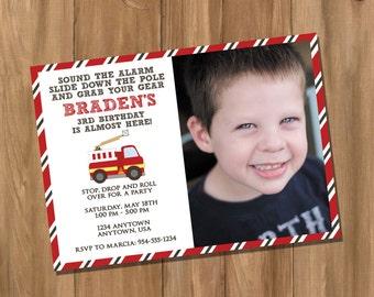 Fire Truck Birthday Party Invitation with Photo (Digital - DIY)