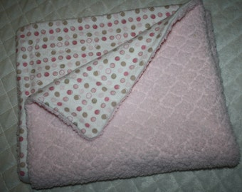 pink polka dot and cuddle minky baby blanket (30 x 26). baby girl infant toddler blanket