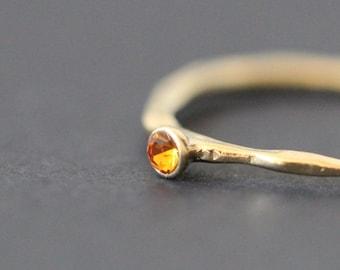Mini Solitaire Swarovski Crystal Ring 18K Gold Plated Ring(Topaz)