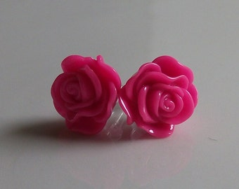 Small Hot Pink Rose Earrings