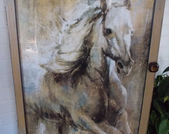 STORAGE WALL CABINET   Large    Optional Picture Frame     Ready to Ship      Removable Replaceable Picture   Horse